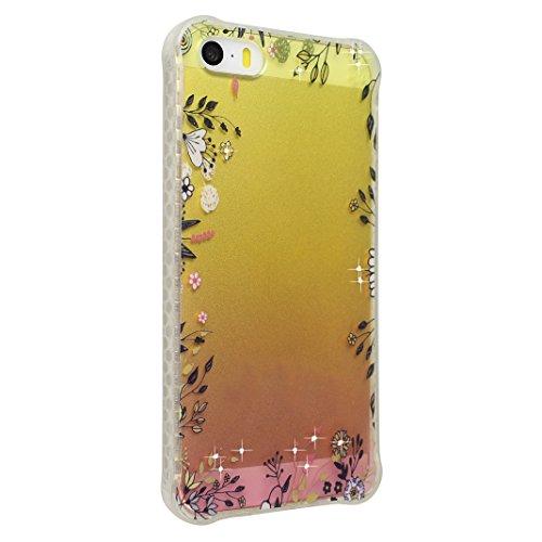 Coque iPhone 5 5S, Étui pour iPhone SE Case, Moon mood® Housse iPhone 5 Silicone Coque Étui Téléphone Couverture TPU Clair éclat Bling Brillant Glitter Diamant Strass avec Fleur Motif Ultra Mince Flex Style-9