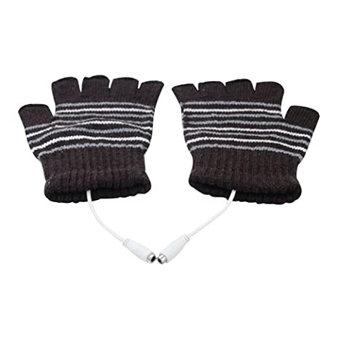USB Powered Laptop Heating Knitting Wool Hands Warm Gloves Heated Warmer - Black by Well-Goal
