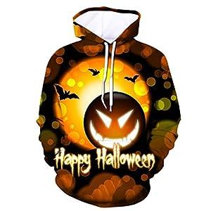 SIRIGOGO Halloween Thema Männer 3D Kürbis Brief Druck Hoodie Kapuzenpullover Langarm Sweatshirt Kapuzenjacke mit Taschen