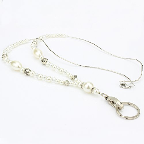Wisdompro - Elegante collana da donna, con cordino di 48,3 cm e chiusura ovale girevole e anello per portacarte e chiavi Trasparente