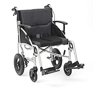 Drive DeVilbiss Phantom Wheelchair – Heavy Duty Transport Wheelchair – Adult Folding Wheelchair with Angle Adjustable Arms