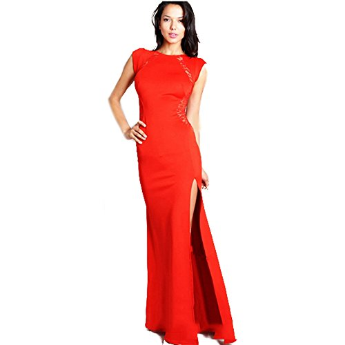 spritech (TM) Damen Mädchen Ärmellos Lange Kleid Sexy Split Hohl Spitze Slim Fit Party Rock, Rot, xxl (Nylon Rock Flare)