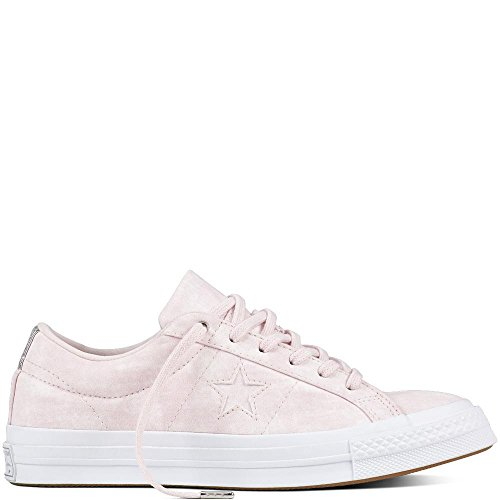 Converse Damen Cons One Star Peached Wash OX Sneaker, Pink Rosa/Silber, 37.5 EU