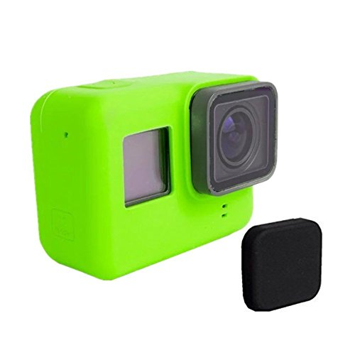 Cam-ulata silicone Housing Protective Case Cover Shell and Black Lens Cap for Gopro hero5 5 Action Camera Frame Protector Accessories