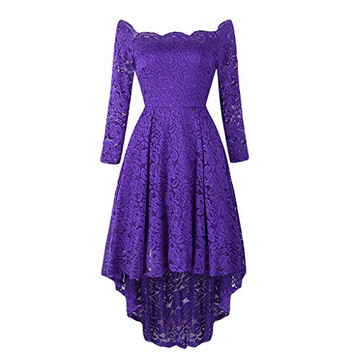 Luckycat Frauen Spitze Ball Party Langarm One Shoulder Lace Maxikleid Abendkleider Schwingenkleid Partykleider Cocktailkleid Blusenkleid Kleider