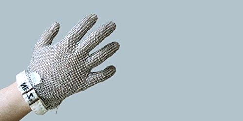 Stechschutzhandschuh STANDARD mit/ohne Stulpe & Textilverschluss, Kettenhandschuhe aus 100% Edelstahl, Metzgerhandschuh, beidhändig tragbar, Größe:L - 20 cm Stulpe