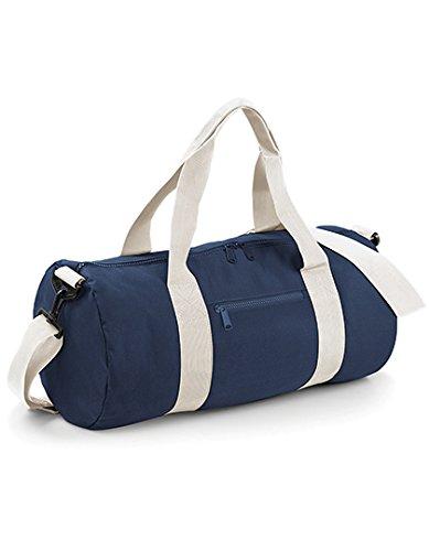 Bag Base - Sac de voyage en toile 20 L - BG140 - VARSITY BARREL BAG - Coloris bleu marine et blanc