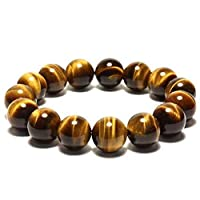 Natural Tiger Eye Stone Bracelet Elastic Rope Bangles Bracelet For Women Men 12mm