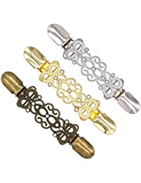 FENICAL Suéter Clips Alloy Diamond Cardigan Connection Hebillas Collar Clips 3PCS