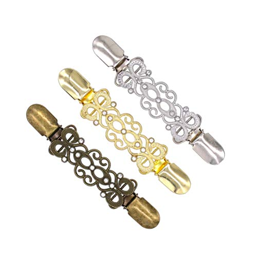 FENICAL Pullover Clips Strass Blumen Spitze Design Cardigan Kragen Clip für Frauen Mädchen 3 Stück (Golden, Silber und Bronze) - Jacke Strass