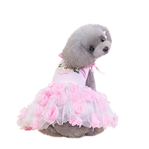 Pudel Rock Kostüm Schuhe - Haustier Kleid - Atmungsaktives Sommer Kleid für Haustier - Hunde Katzen Rose Style Knospe Seide Gaze Rock - Leicht & Atmungsaktiv - für Schnauzer,Teddy,Pudel,Chihuahua (Pink, L)