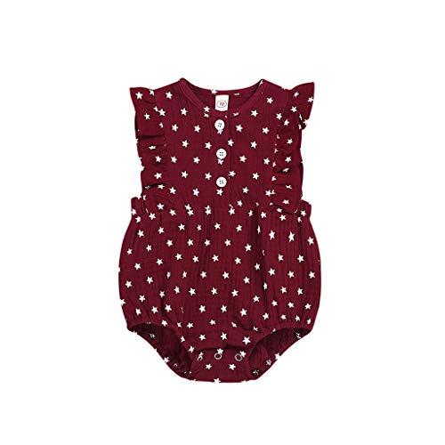 squarex Neugeborenen Kinder Baby Mädchen Kleidung fünfzackigen Stern Print Strampler fliegenden Ärmeln Overall Sommer Cute Jumpsuit Casual Romper