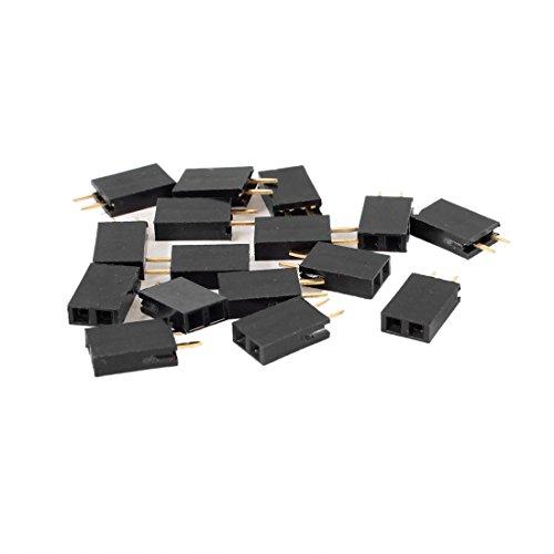 TOOGOO(R)16 Stueck Gerade Einreihige 2.54 mm PCB 2 Pins Steckverbinder Buchsenleisten - Schwarz