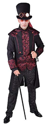 narrenkiste M218207-S schwarz-rot Herren Steampunk-Gothic-Halloween Kostüm Gr.S
