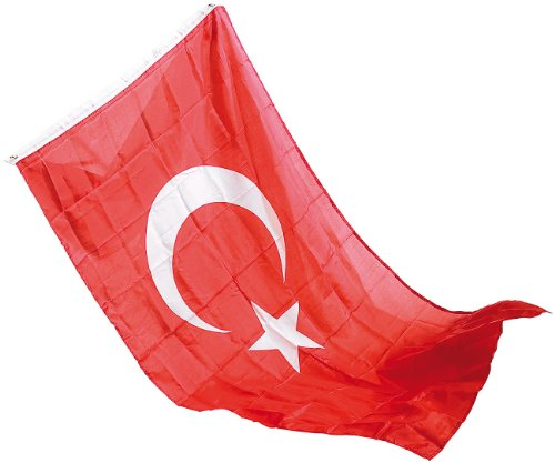 Unbekannt PEARL Fußball-Fahne: Länderflagge Türkei 150 x 90 cm aus reißfestem Nylon (Fahne mit Öse)