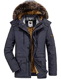 Yallmarket Abrigo con Capucha de Pelo Hombre Chaqueta de Invierno Moda Casual Caliente Algodón Parka Azul
