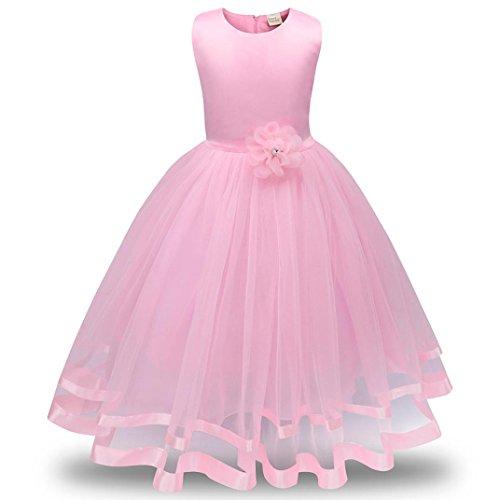 ❤️Kobay Blume Mädchen Prinzessin Brautjungfer Festzug Tutu Tüll-Kleid Party Hochzeit Kleid (Rosa, 150/7 Jahr)