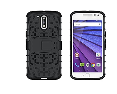 iDefend Motorola Moto G4 (4th Generation) / Moto G4 Plus Case Black Heavy Duty Shockproof Defender Cover [Includes A Clear Screen