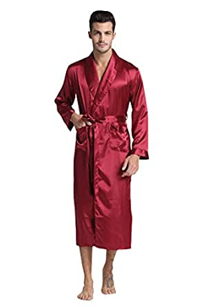 tony candice herren lange klassische satin charmeuse morgenmantel robe bekleidung. Black Bedroom Furniture Sets. Home Design Ideas