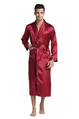 TONY & CANDICE Herren Lange Klassische Satin Charmeuse Morgenmantel/ Robe (M, Burgund) (Charmeuse Satin-robe)