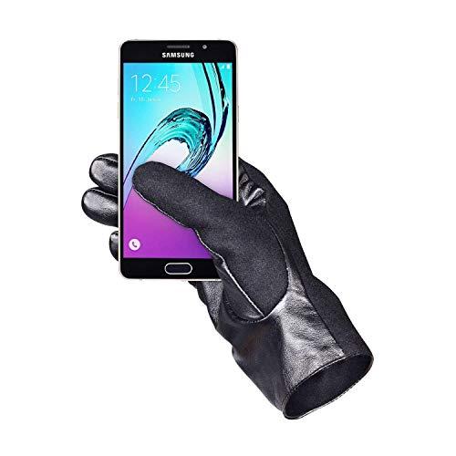 elegante, warme Leder-Handschuhe für Mann Frau zur Winter-Zeit mit Touchscreen & Touch-ID-Fingerabdruck Funktion - Größe XXL ()