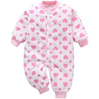 uBabamama Autumn Sale!!! for Newborn Infant Baby Girl Thick Warm Striped Heart Printed Jumpsuit Long Sleeve Romper Coat Outfits(Pink,90)