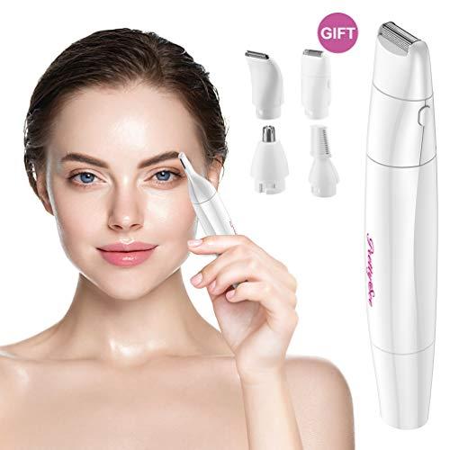 Afeitadora Mujer 4 en 1,PRETTY SEE Depiladora de Cuerpo,Femenina Recortadora Electrica, Impermeable Facial Depiladora de Cabello para Cejas,Bikini Rasuradora