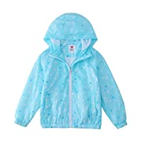 M2C Girls Hooded Lightweight Printed Windbreaker Jacket 5-6 Blue Polka Dots