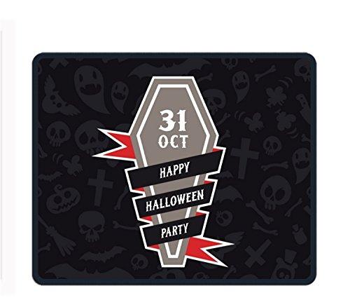 Mauspad/Mauspad mit abgenähten Kanten, Rutschfest, Grau, Happy Halloween Party, Einheitsgröße
