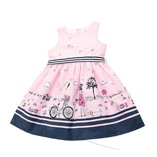 Girls Clothes, Internet Girls Cute White Cartoon Princess Dress for 2-7 Years Old (4-5years, Pink)