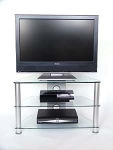 Demagio DM021 Meuble TV en verre avec 3 étagères Transparent (Import Royaume Uni)