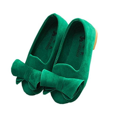 Vokamara Faux Suede Bow Zapatos Bailarinas Planos