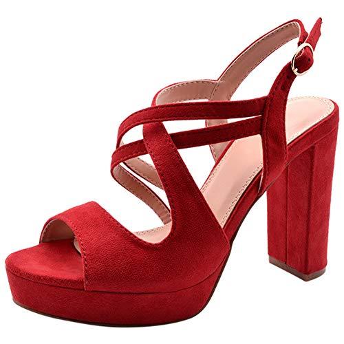 Sandali-Plateau Donna Peep-Toe Incrociato Tacco-Blocco Scarpe con Tacco Rosso 40 EU
