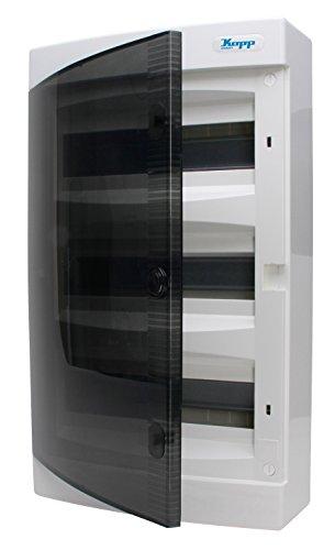 Kopp 350913049 Aufputz-Verteilerkasten mit Tür 3-reihig für 36 Pole, Grau/Schwarz