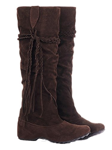Minetom Herbst Und Winter Frauen Hohe Stiefel Mattoberflächen Höhe Erhöhen Schuhe Mit Quaste Rüschedekoration Brau 39 (Frauen Sexy Kostüm Stiefel)
