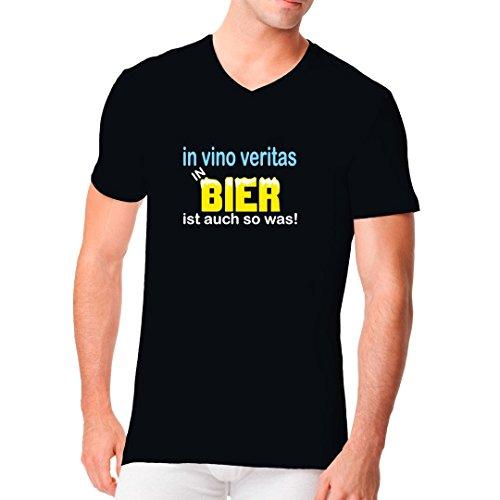 Fun Sprüche Männer V-Neck Shirt - In vino veritas by Im-Shirt Schwarz
