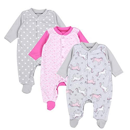 TupTam Unisex Baby Schlafoverall mit Fuß 3er Pack, Farbe: Mädchen 3, Größe: 68