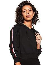 WOKNIT Full Sleeve Solid Women's Hooded Crop Black Sweatshir