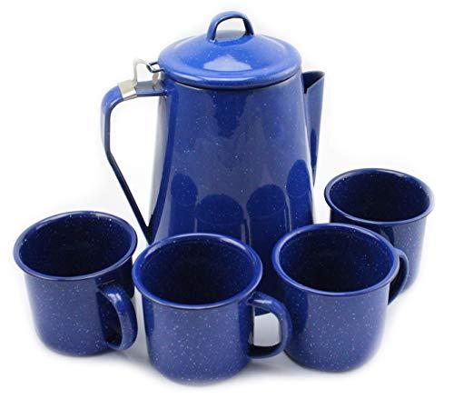 Freizeitprofis Kaffeekanne mit Perkolator und 4 Tassen Emaille Western blau Camping & Outdoor, Lagerfeuergeeignet