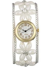 Geneva Platinum Pearl Wrap Around Strap Analog White Dial Women's Watch - GP-195