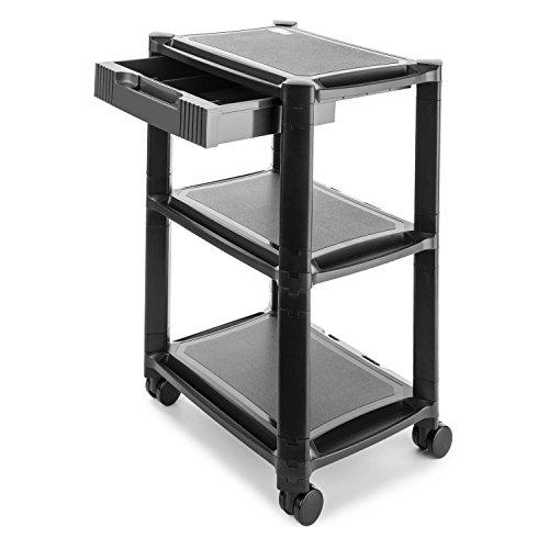 AUNA P-Stand Mesa con Ruedas para Impresora - Mueble para Oficina , Cajones , Guía de Cables , 3 bandejas de Altura Regulable , Móvil por Ruedas con Frenos , Negro