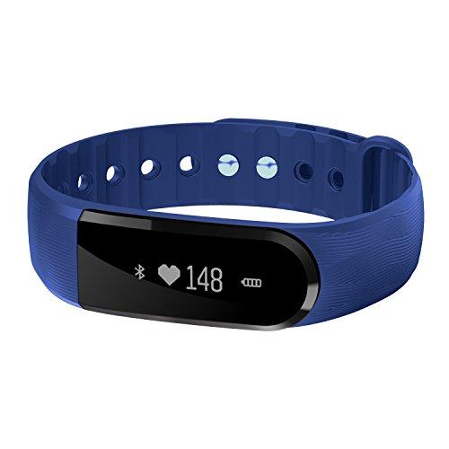 COOSA Fitness-Armband, wasserdicht, Smartwatch mit Touchscreen, Fitness-Tracker, Schrittzähler, Messer für Kalorien, Schlaf, Herzfrequenz Ruferinnerung, für Smartphones mit Android oder iOS, 2Bleu
