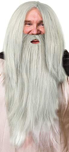 Zauberer Perücke in grau im Set mit grauem Bart für Herren & Damen Magier Hexer Gandalf Merlin Fasching Karneval