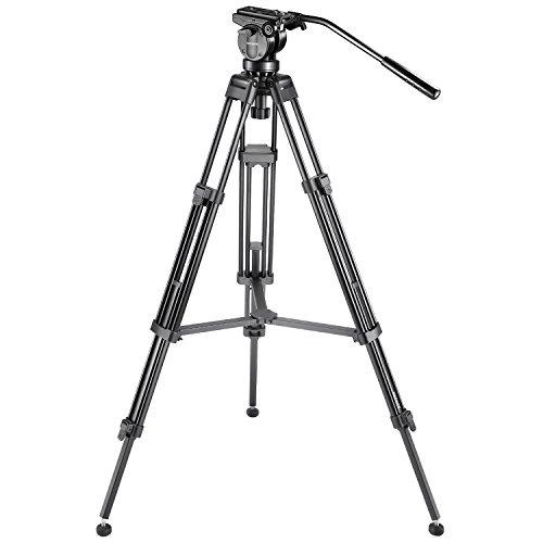 Neewer Professionell Aluminiumlegierung Video Kamera Stativ mit 360 Grad Fluid Drag Kopf, Belastbarkeit bis zu 6 Kilogramm, 155 cm - Video-stativ Fluidkopf