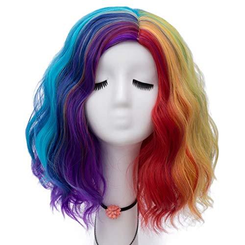Kostüm Rocker Zombie Mädchen - NiceLisa 40cm Kurze Natürliche Welle Regenbogen Bunte Kostüm Halloween Parade Cosplay Perücken
