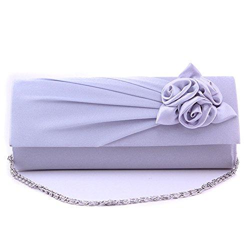 Junsi Women's Evening Handbag borsetta Clutch Bag with Shoulder Strap Satin Rose Silver