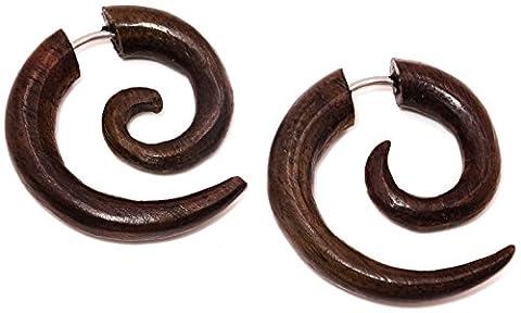 Faux Ecarteur Boucles d'oreilles Piercing Bois paire marron homme femme mixte Ethnique Gauge Expander Wood Wooden Fake Spirale spiral tourbillon