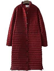 QIANQIAN De las mujeres más invierno tamaño único breasted largo abajo con grasa gruesa chaqueta de punto algodón chaqueta , 5xl , wine red