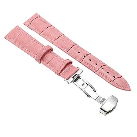 Jerollin 14mm Bande Bracelet Montre de Ciur Pour Remplacement Couleur Rose