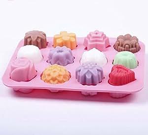 + ING Mehrzweck 12Löcher Blumen Silikon Kuchen Form Eis Form Jelly Pudding Form Schokolade Form rose